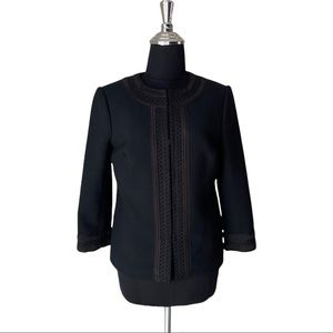 Tory Burch Black Embroidered Cropped Wool Blend Blazer Jacket Size 4